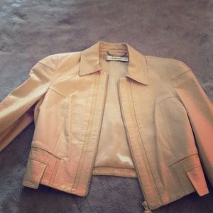 Versace pale pink cropped leather jacket